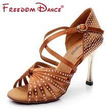 "Satijn Bovenste Steentjes Vrouwen Latin Dansschoenen Ballroom Schoen Sandalen 3.45 ""Gold Hak Meisjes Zapatos De Baile Latino zwart Tan"