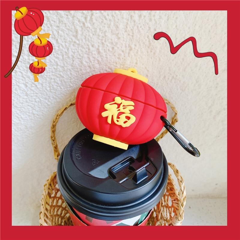 Para airpods 3 caso 3d vermelho feliz fu lanterna para apple air pod pro capa silicone bluetooth fone de ouvido caso para airpods acessórios