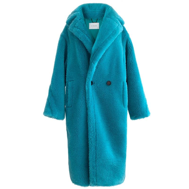 90% الصوف 10% الكشمير الفراء الحقيقي معطف المرأة الشتاء دعوى طوق طويل الطبيعة تيدي الدب الفراء معاطف معطف