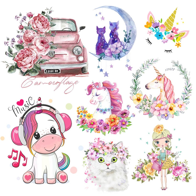 Prajna Cute Unicorn Applique Iron-On Transfers For Clothing Stickers Cartoon Animal Thermal Heat Transfer Kids Clothes Print