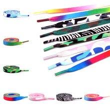 1Pair Colorful Laces Rainbow Gradient Print Flat Canvas Shoe Lace Shoes Casual Chromatic Colour Shoe