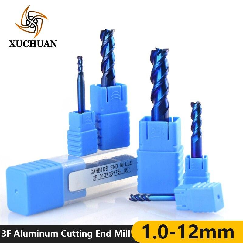 1 pieza 1-12mm 3 flautas fresa final para Corte de aluminio Nano con revestimiento azul CNC fresa final de carburo fresa
