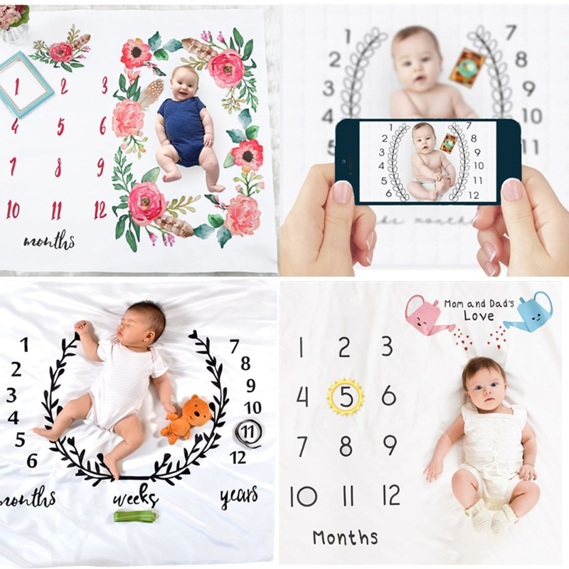 Newborn Baby Monthly Growth Milestone Blanket Photography Props Background Cloth Commemorate Rug Mat Baby Accessories