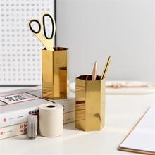 Hexagonal dourado caneta titular flor seca vaso de metal escritório desktop papelaria organizador frasco ins armazenamento aço inoxidável jar