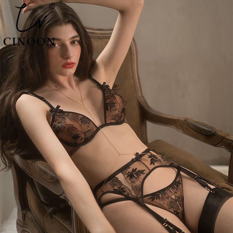 CINOON женское нижнее белье с вышивкой, тонкое нижнее белье, кружевной бюстгальтер, набор, прозрачное искушение, нижнее белье, подвязки, бюстгальтер
