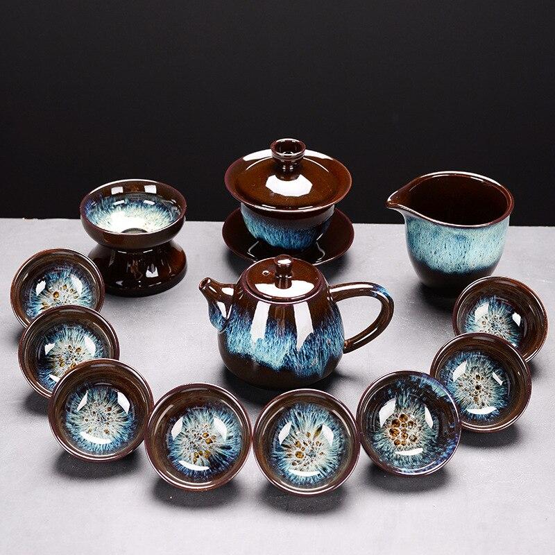 طقم شاي الكونغ فو الخزفي الذهبي ، أواني الشاي عالية الجودة ، قابلة للتخصيص ، لحفل الشاي ، جديد ، 2021
