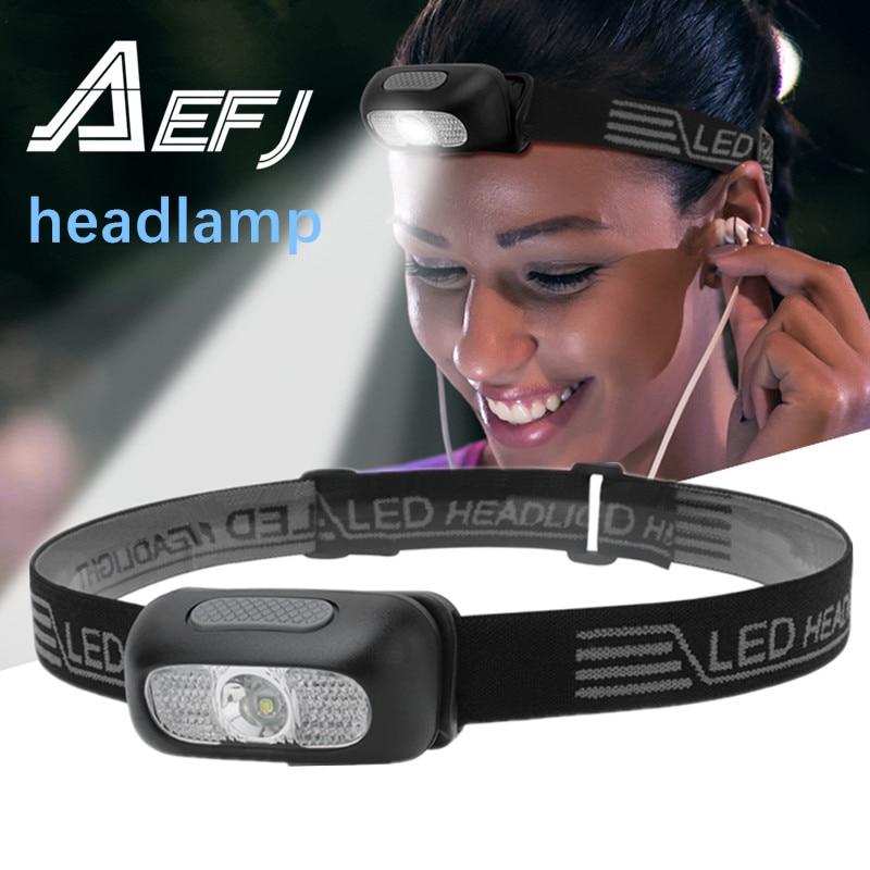 LED R5 Mini Headlamp red white Headlight USB Rechargeable Head Torch Flashlight Lamp Light Camping +USB Line
