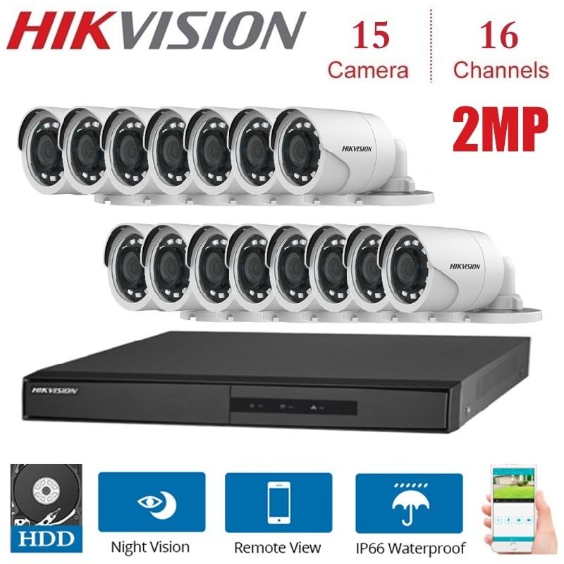 Al aire libre 2MP 16 canales Hikvision DVR met 15 Uds 2MP 4 en 1 TVI/CVI, AHD/CVBS Cámara Beveiliging nachtzicht-system Kits