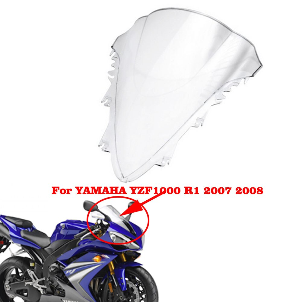Прозрачное ветровое стекло с двумя пузырьками для Yamaha YZF R1 07-08 ABS White YZF R1 2007 2008 мотоциклетное ветрозащитное стекло