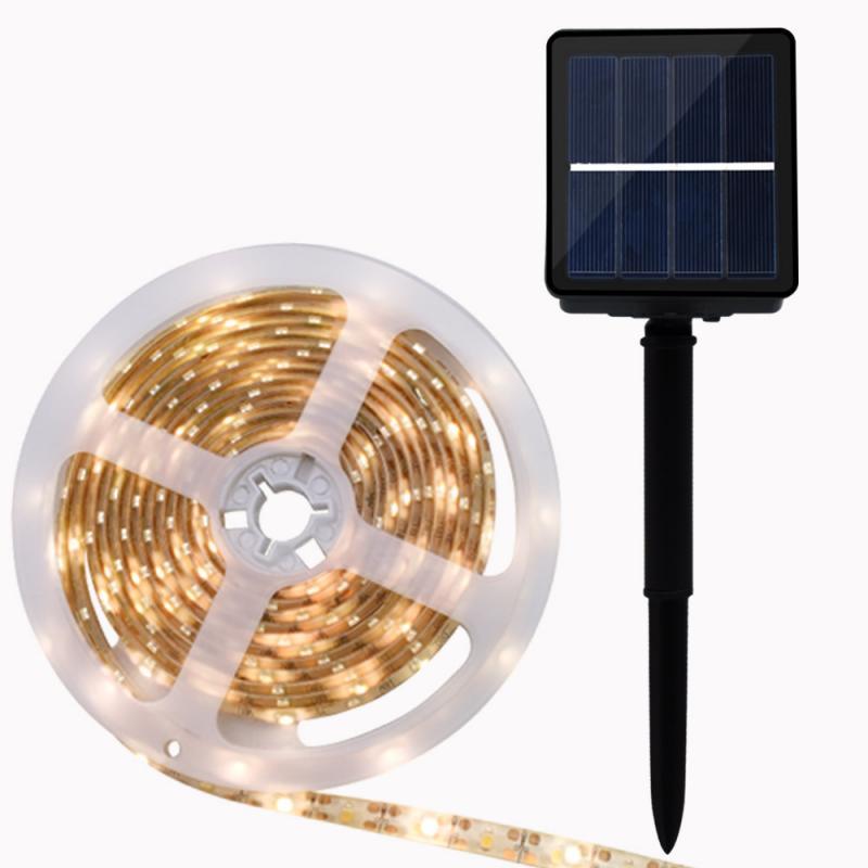 2/3/4/5M Solar Power LED Strip Light Waterproof Outdoor RGB Flexible Lighting LED Strip Ribbon Tape Backlight Home Garden Decor