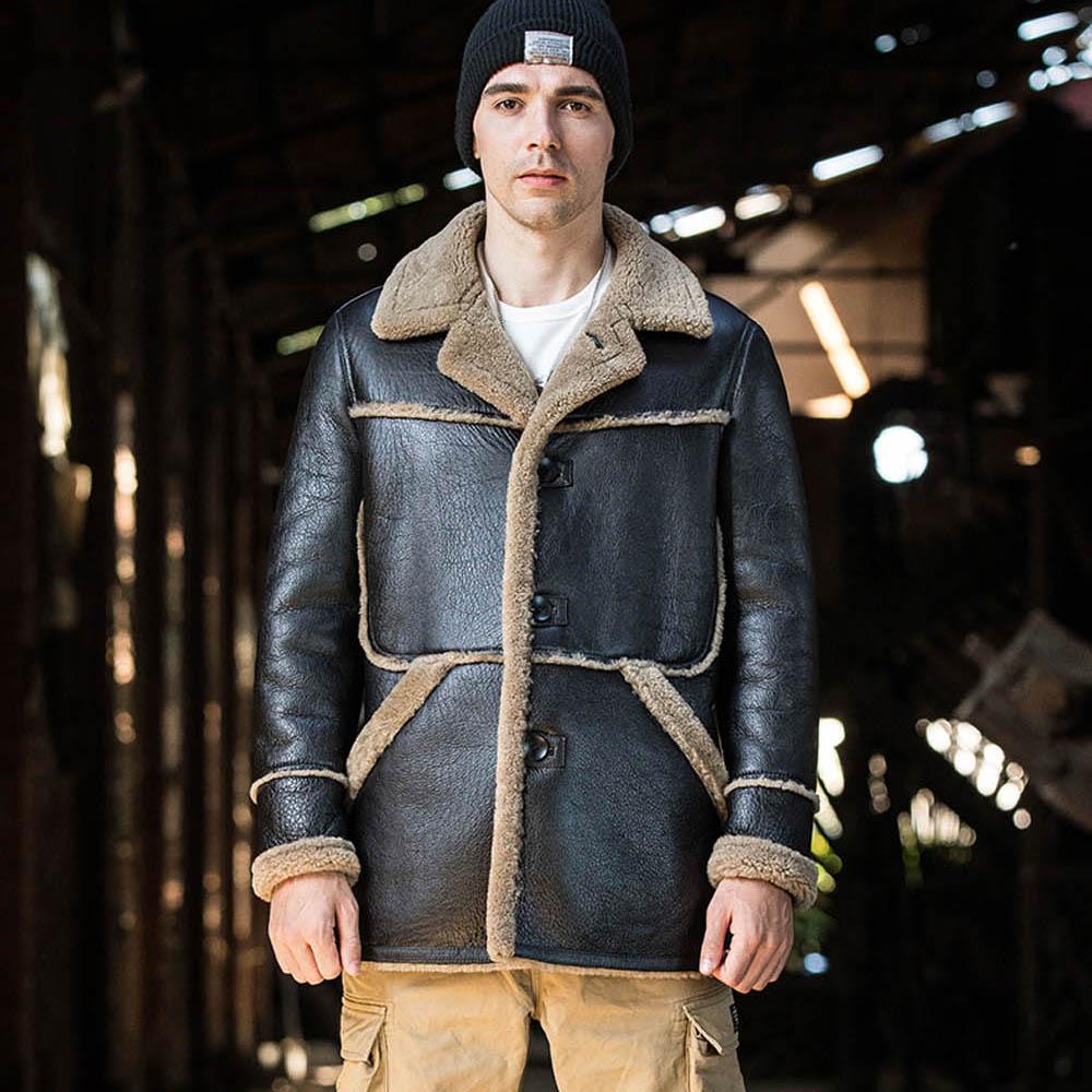 2020 جديد الرجال الشتاء الدافئة الفراء معطف أسود حقيقية جلد الغنم الفراء Shearling جاكيتات الأعمال عارضة الرسمي معاطف