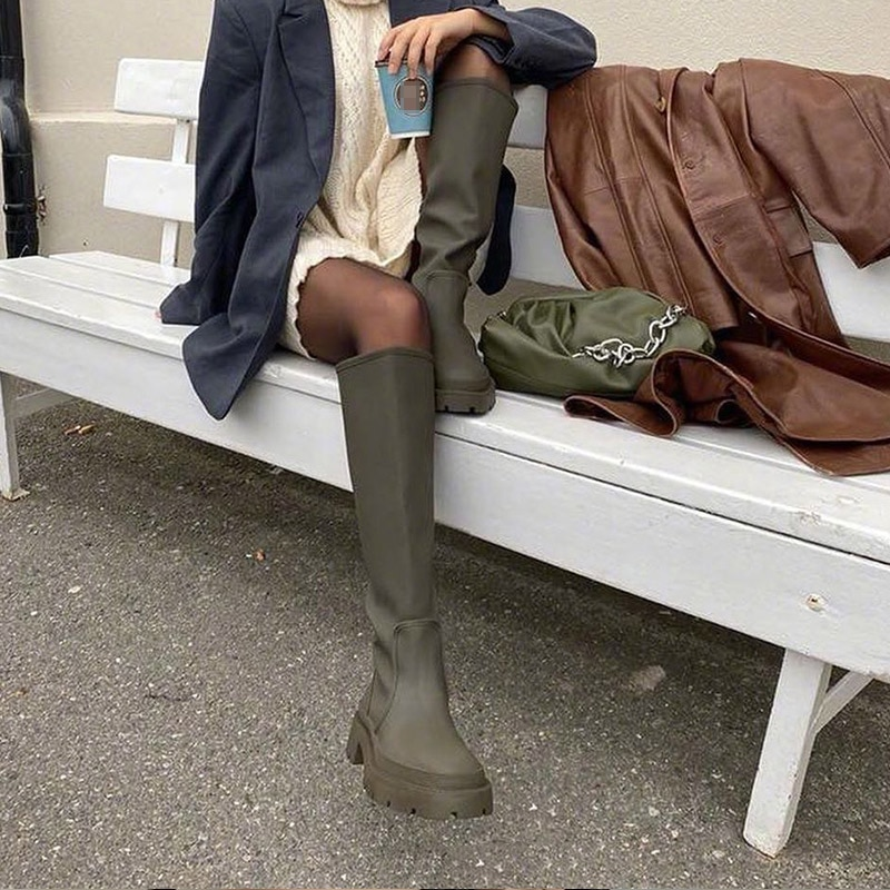 Designer Knee-High Casual Women Shoes 2021 Winter New Mid-heels Goth Chelsea Snow Boots Gladiator Chunky Fashion Boots Mujer