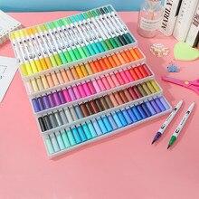 Stylo pinceau aquarelle double pointe 12/24/36/48/60 marqueurs dart de couleurs pour dessiner des fournitures dart