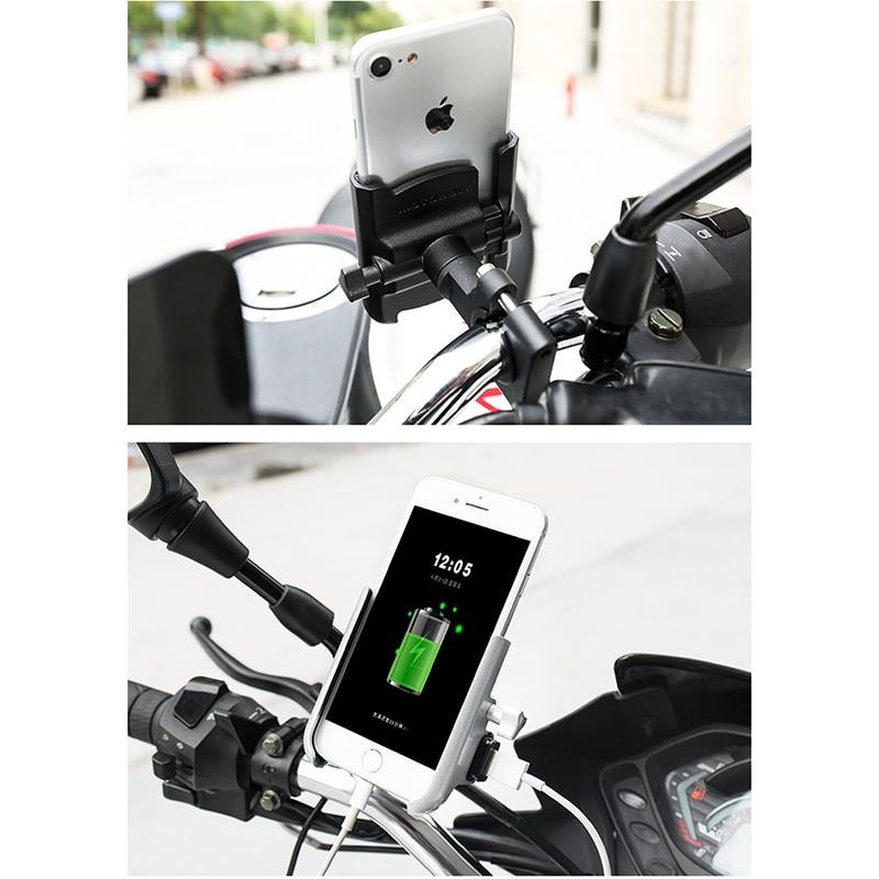 Soporte de teléfono para motocicleta, soporte de cargador de teléfono para Moto, teléfono de bloqueo cuádruple para HONDA SUZUKI YAMAHA BMW KAWASAKI BENELLI KTM