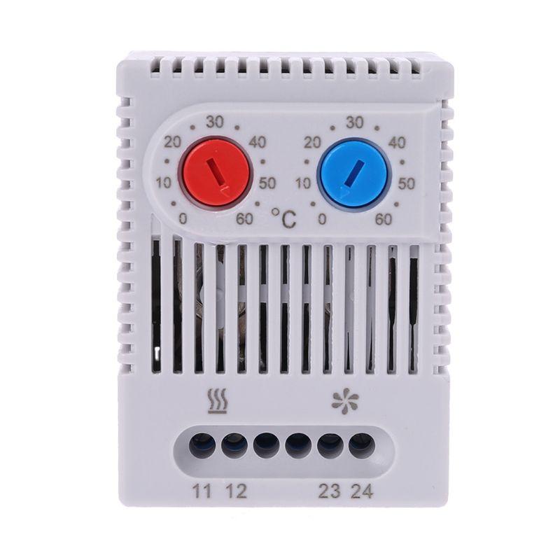 Pequeno compacto ajustável controlador de temperatura zr011duplo termostato aquecedor ventilador conexão para gabinete zr 011