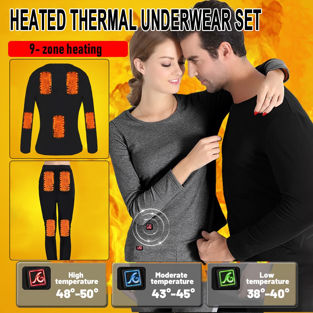 Winter heating underwear, fleece lining heated thermal underwear set, USB electric heating T-shirt and pants