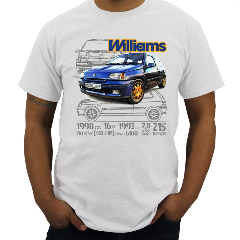Camiseta de algodón para hombre, Tops de cuello redondo Renault Clio Williams...