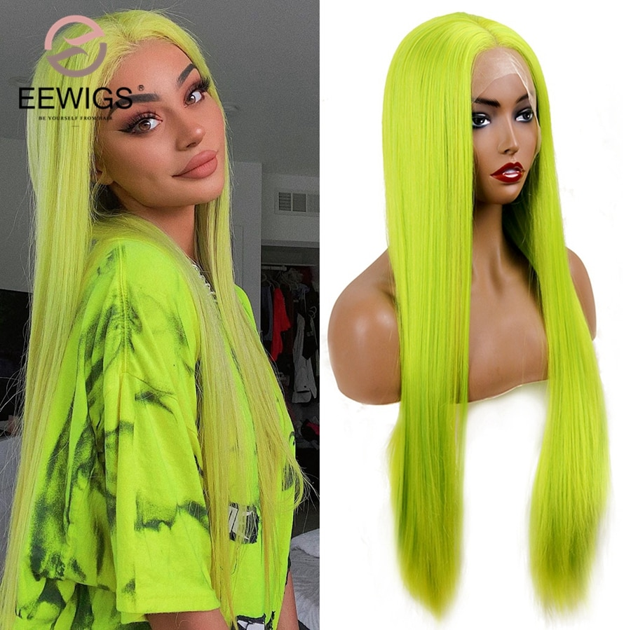 EEWIGS Glueless Long Straight Lace Wig High Temperature kylie Jenner Style Wig Neon Green Synthetic Lace Front Wigs For Women