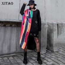 XITAO Patchwork Druck Unregelmäßigen Midi Kleid Frauen Kleidung 2019 Fashion Korean Elegante Tasche Schwarz Kleid Pullover Herbst WQR1769