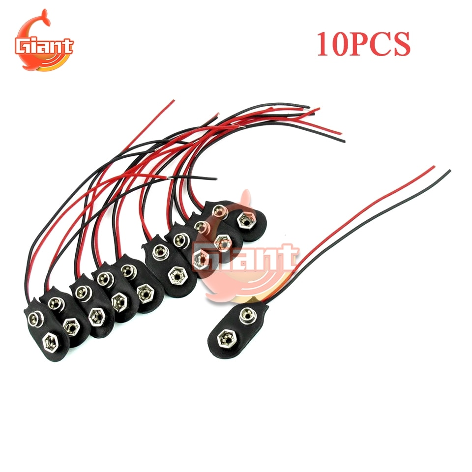 10PCS 9V Clip-on Battery Connector 9V Battery Snap-on Connector Wire Holder Cable Leads Cord 9V I-Fonts Softshell Battery Buckle