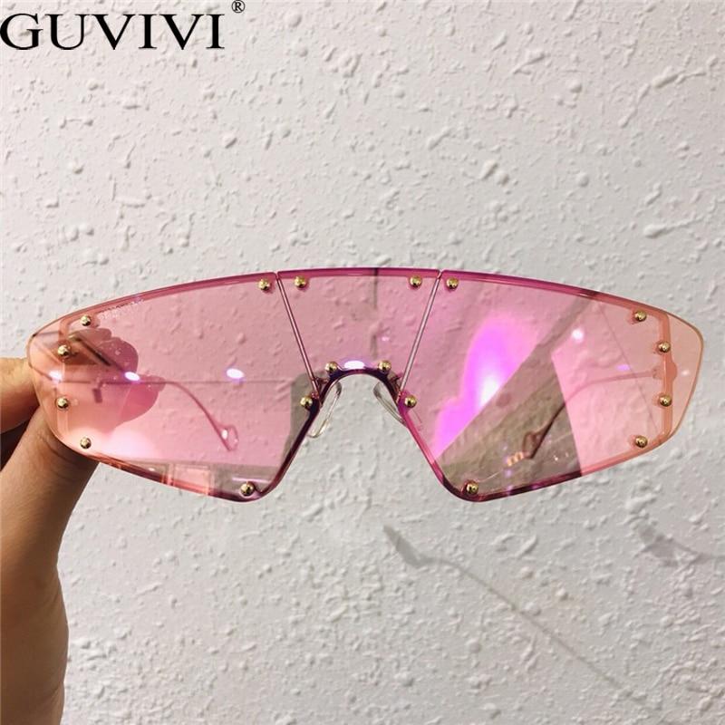 Vintage óculos de sol das mulheres 2019 olho de gato sem aro óculos de sol dos homens marca de luxo designer rebite uma peça rihanna eyewear