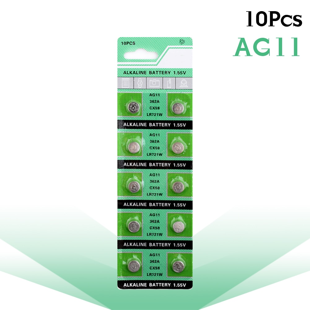 10pcs/pack 1.55V AG11 Button Batteries LR721 362 SR721 162 Cell Coin Alkaline Battery Usage For Hund