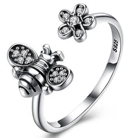 fashion retro cute bee bird ring womens exaggerated antique siver color opening adjustable rings punk finger ins hip hop jewelry
