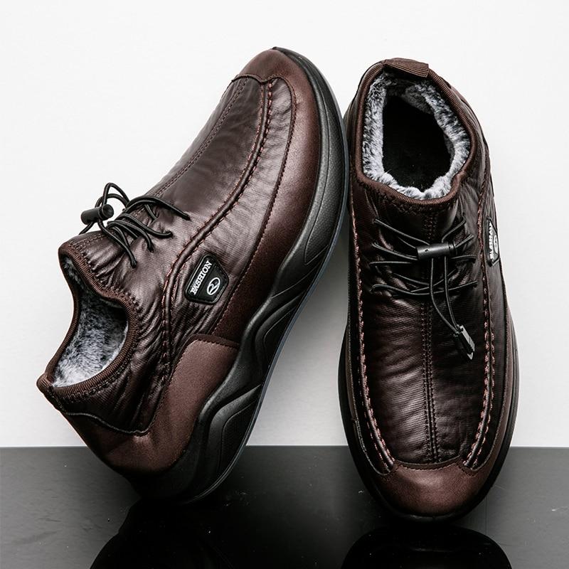 Брендовые зимние мужские ботинки, теплые водонепроницаемые мужские ботинки на толстой плюшевой подкладке, дышащие мужские ковбойские боти...