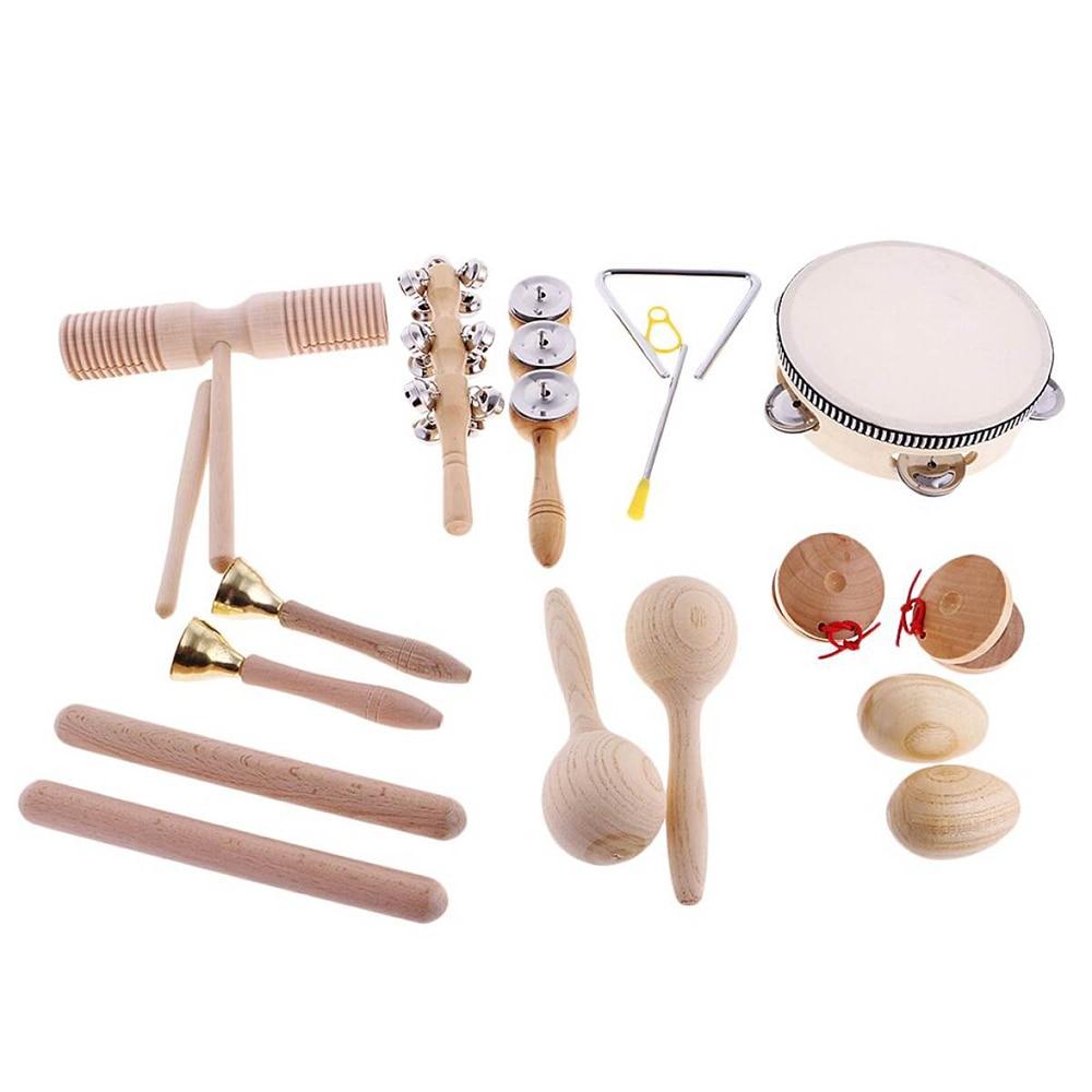 Conjunto de percussão musical mão agitador sino areia maraca ovos martelo abanador som guiro ritmo vara de madeira brinquedos musicais eudcational