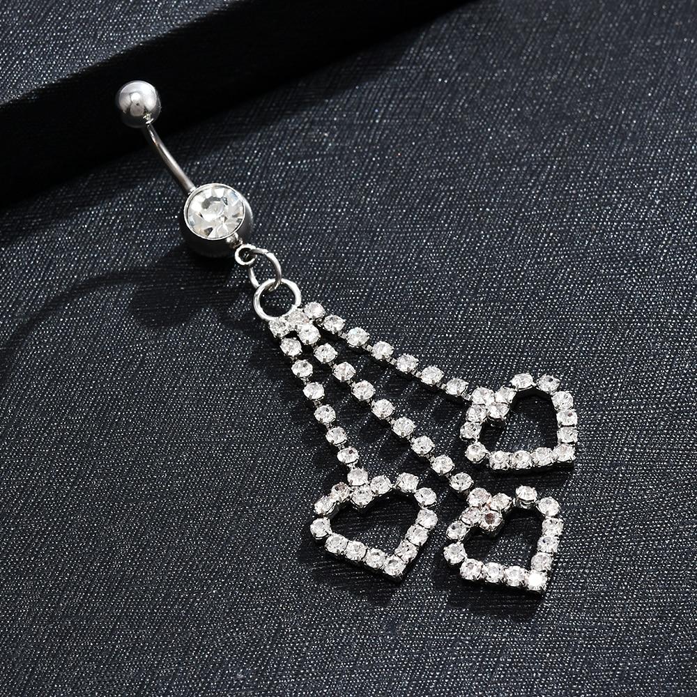 1Pcs Heart Rhinestone Chain Dangle Barbell Belly Button Navel Ring Bar Piercing Indian Waist Belt