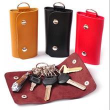 fashion Leather Keychain Men Women Key Holder Organizer Pouch Cow Split Car Key Wallet Housekeeper K