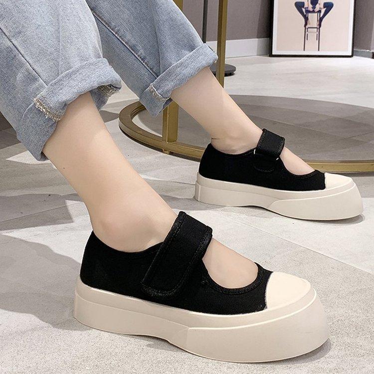 Осень 2020 новые корейские тонкие туфли на застежке-липучке с круглым носком на толстой подошве прямые продажи от производителей