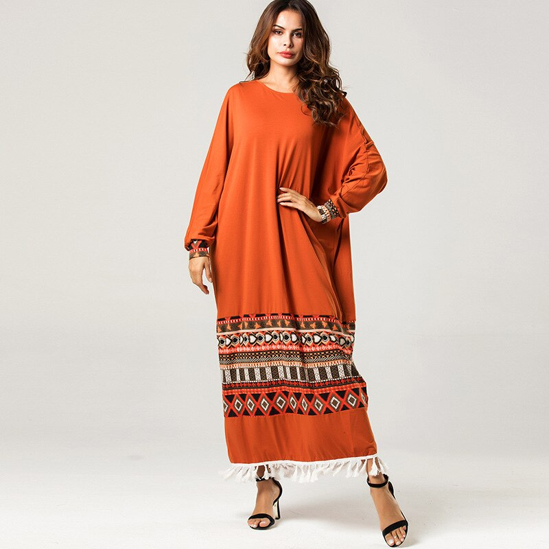 Siskakia étnica geométrica impressão vestido de oversize batwing manga midi vestidos branco borla retalhos roupas femininas laranja 2020