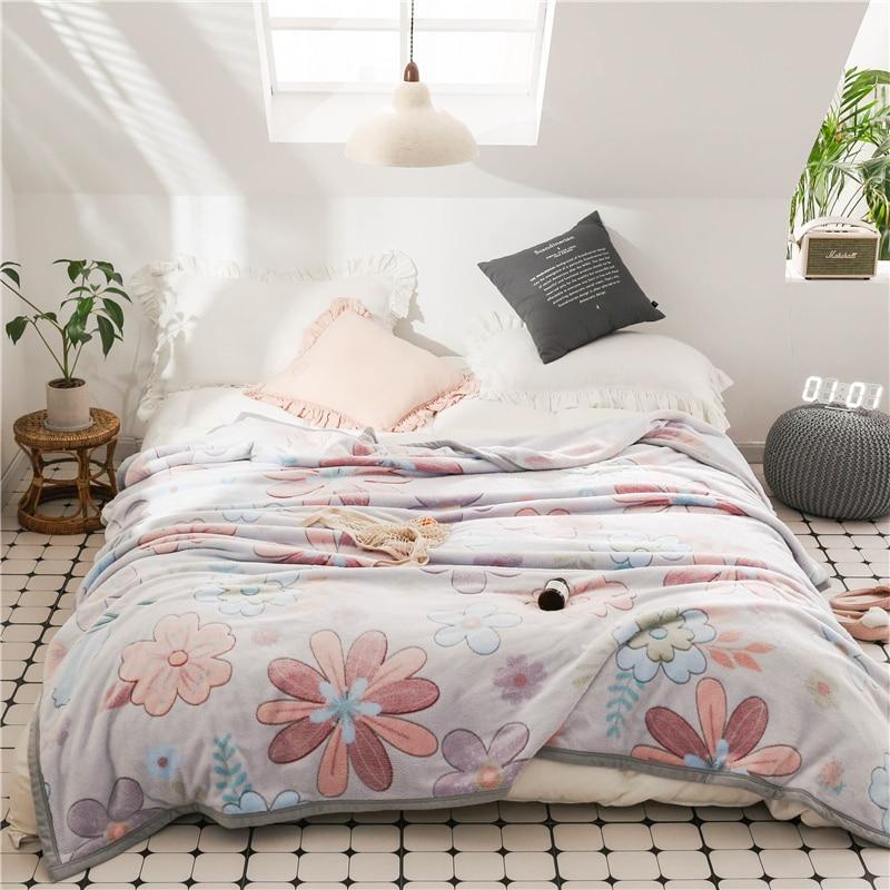 Mantas de flores de dibujos animados edredones doble reina completa niñas mantas suave franela tiro manta en la cama/coche/sofá de lujo alfombras mantas