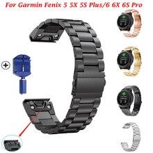 Bracelet de montre pour Garmin Fenix6 6X Pro 5 5X Plus 3HR, 26 22 20mm, en acier inoxydable, dégagement rapide, Easyfit