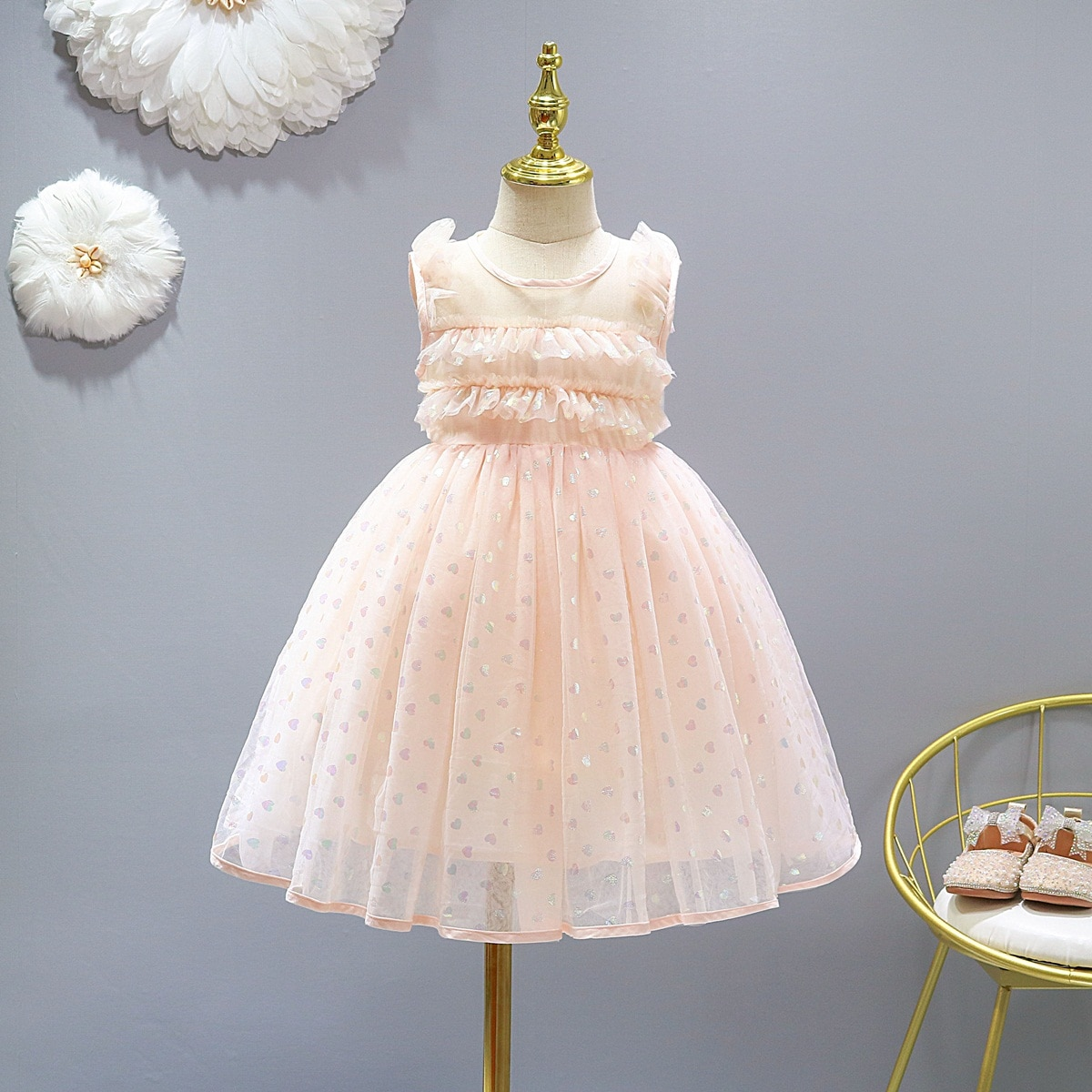 Girls Clothes Kids Dress Princess Costume Cute Dots Print Ruffles Summer 4-13 Years Party Dresses For Girl Children's Clothing