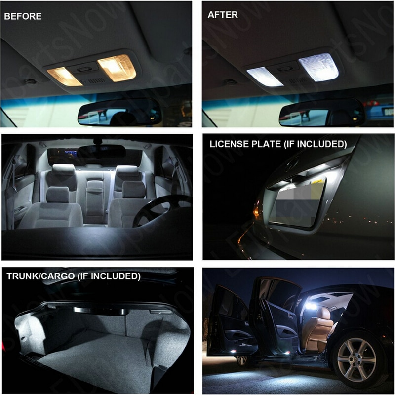 LED Interior Car Lights For nissan murano 2011 room dome map reading foot door lamp error free 14pc