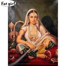 5D bricolage diamant peinture déesse indienne point de croix Kits carré rond broderie instrument de musique mosaïque main perceuse décor