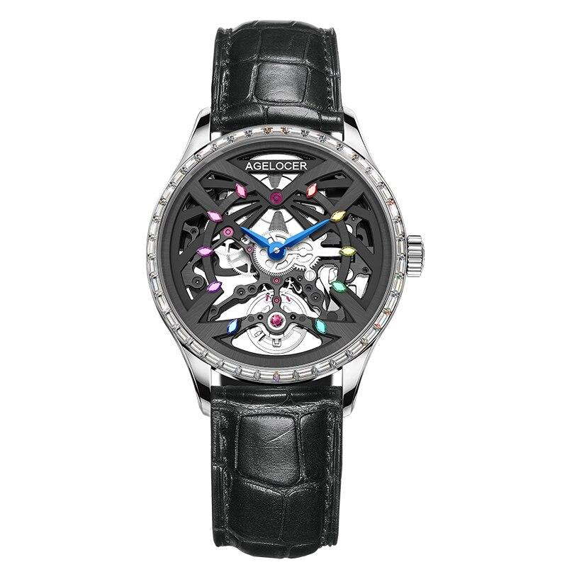 AGELOCER White Skeleton Women Automatic Watch Luxury Brand Female Crystals Blue Strap Wristwatches 50M Waterproof Elegant Watch enlarge