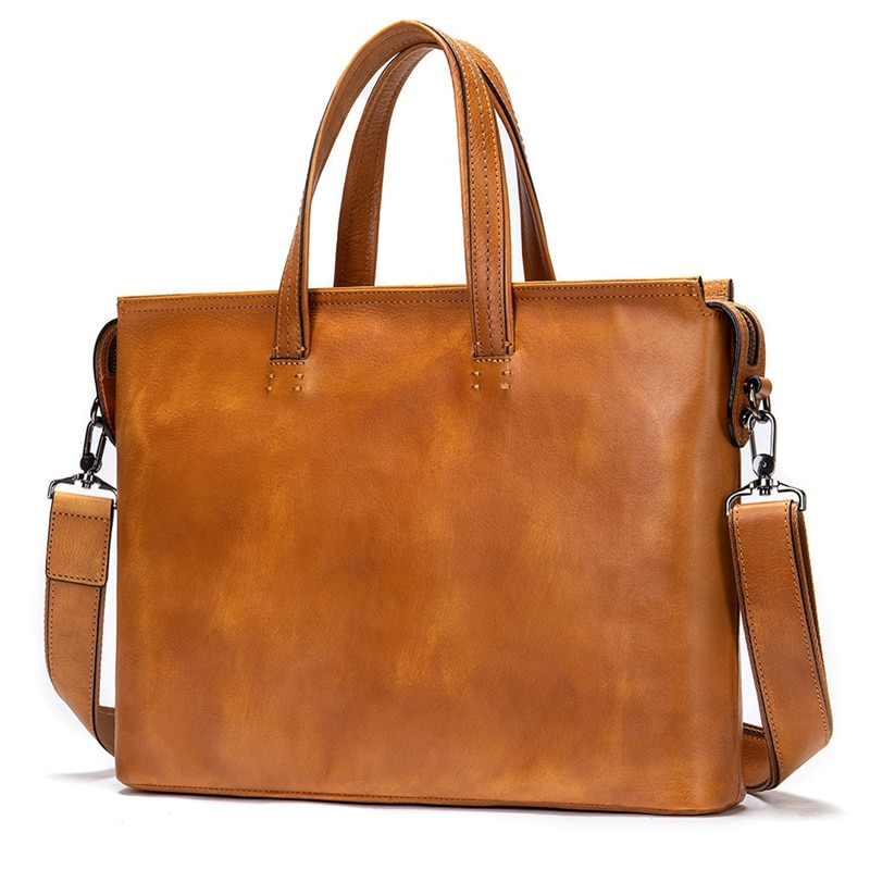 Vintage Men's Briefcase Genuine Leather Original Designer Handbag Man Business Shoulder Bag Brown  For Male 14 Inch Laptop Bag