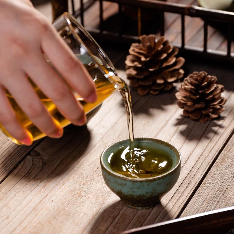 Taza de té de cerámica Vintage, Taza de cerámica nostálgica, taza de té pequeña de estilo chino clásico para el hogar, taza tipo sombrero de bambú, tazas de té Kombucha