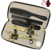 Or 6 pouces main gauche ciseaux de coiffure 440C salon de coiffure professionnel ciseaux de coiffeur ensemble
