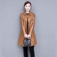 women soft pu leather long jacket new arrival ladies faux sheepskin single breasted coat female outerwear clothing