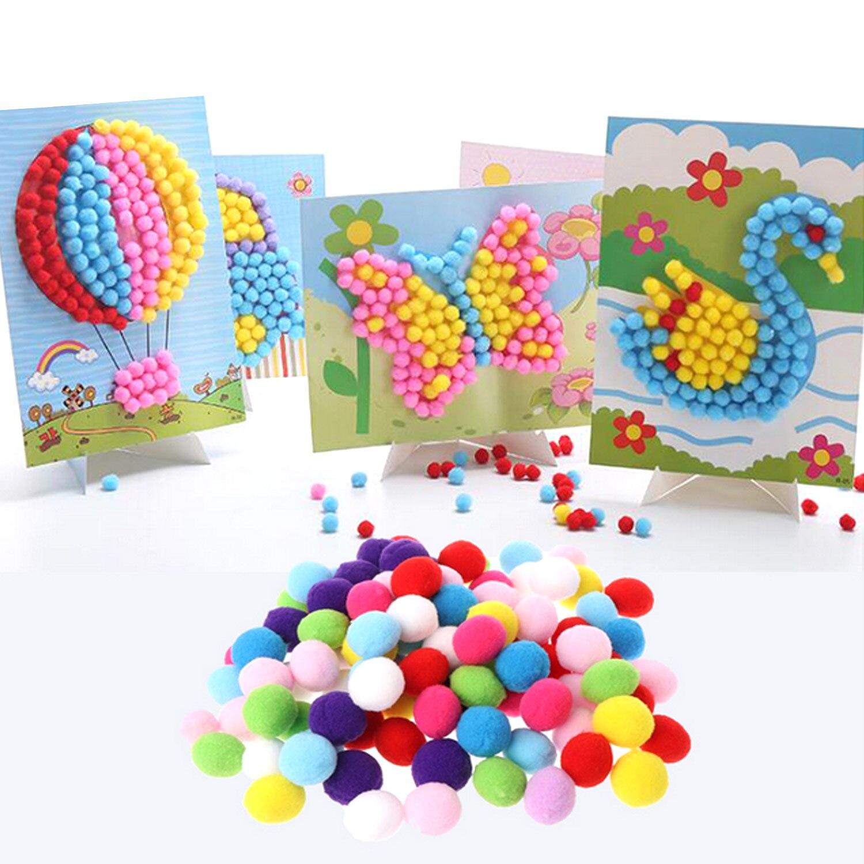 2 conjuntos crianças diy bola de pelúcia pintura adesivos bonito quebra-cabeças artesanato brinquedos para o aniversário natal dia das crianças presente estilos aleatórios