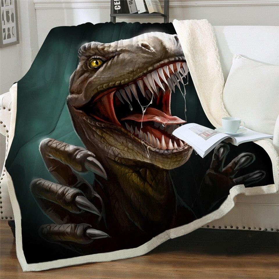 Tomada de cama dinossauro cobertor macio jurássico macio cobertor meninos 3d animal sherpa cobertor tyrannosaurus cama cobertor 004