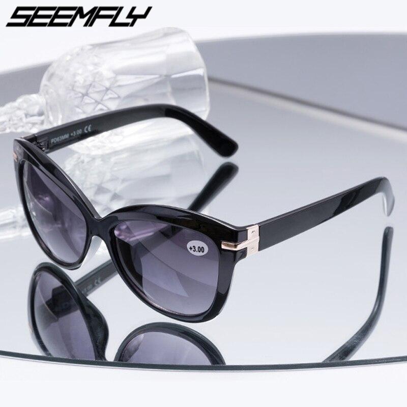 Солнцезащитные очки Seemfly Bifocal для чтения, для женщин и мужчин, очки для пресбиопии, солнцезащитные очки кошачий глаз, диоптрий + 1,0-3,0 Oculos De Grau, 2019