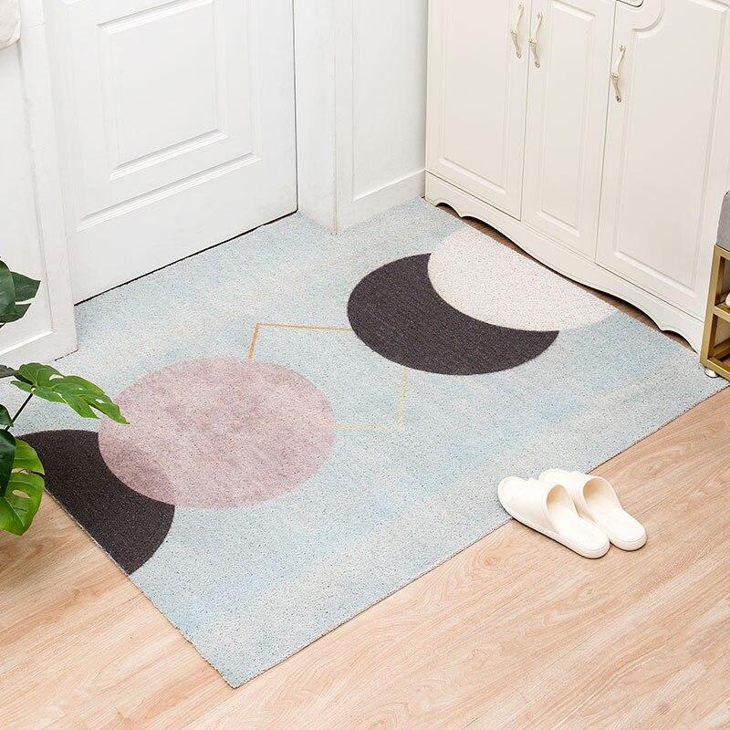 سجادة باب هندسية PVC غير قابلة للانزلاق ، على الطراز الاسكندنافي ، للمدخل ، غرفة المعيشة ، الحمام
