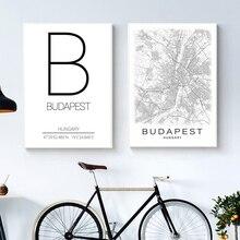 أسود أبيض بودابست خريطة المدينة قماش اللوحة بودابست إحداثيات المجر المنزل جدار الفن طباعة الحديثة الشمال ديكور صورة