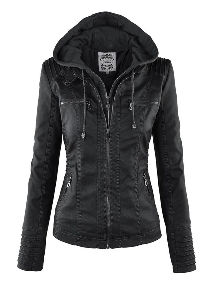 Gothic Faux Leather Jacket Women 2019 Hoodies Winter Autumn Motorcycle Jacket Black Outerwear Faux L