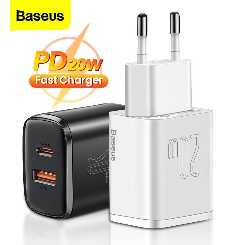 Baseus PD 20 واط USB نوع C شاحن آيفون 12 برو ماكس شاومي تهمة سريعة 3.0 QC USB-C شحن سريع USBC السفر الجدار شاحن
